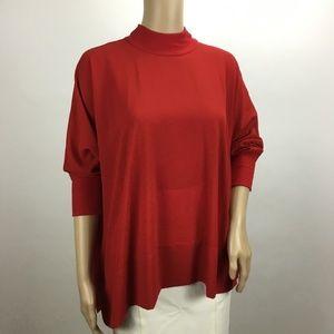 Bobeau Red Batwing Sleeve Mock Neck Blouse Medium